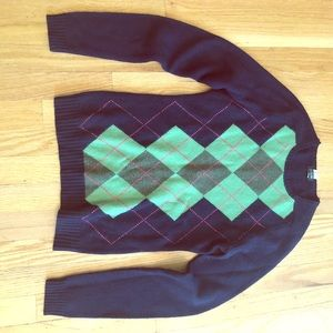 J.Crew Wool womens sweater navy/argyle size S